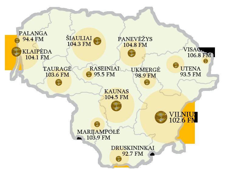 GOLD FM lietuva map